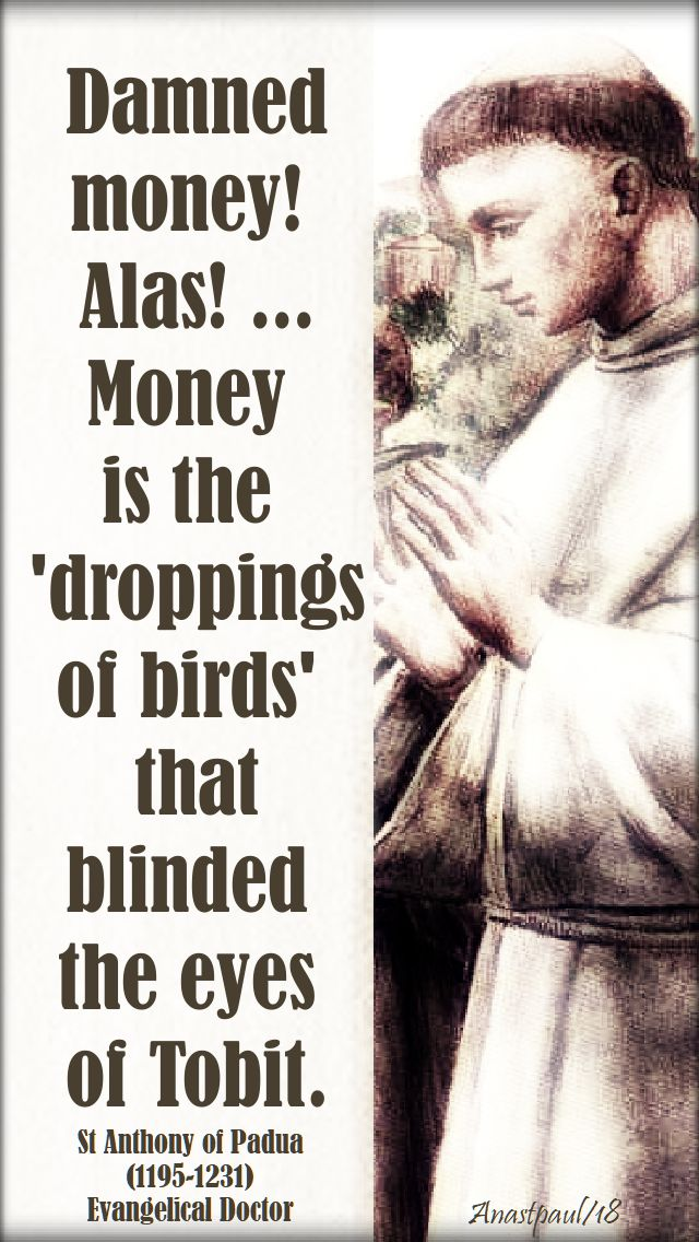 damned money! - st anthony of padua - 13 june 2018