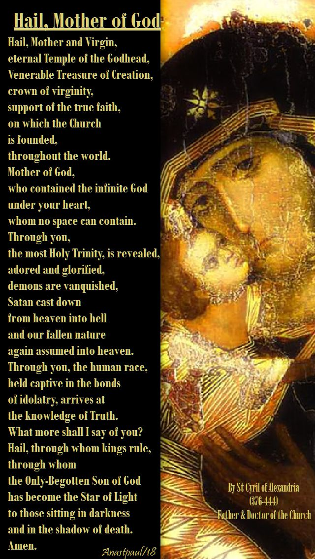 hail mother of god - st cyril of alexandria - 27 june 2018