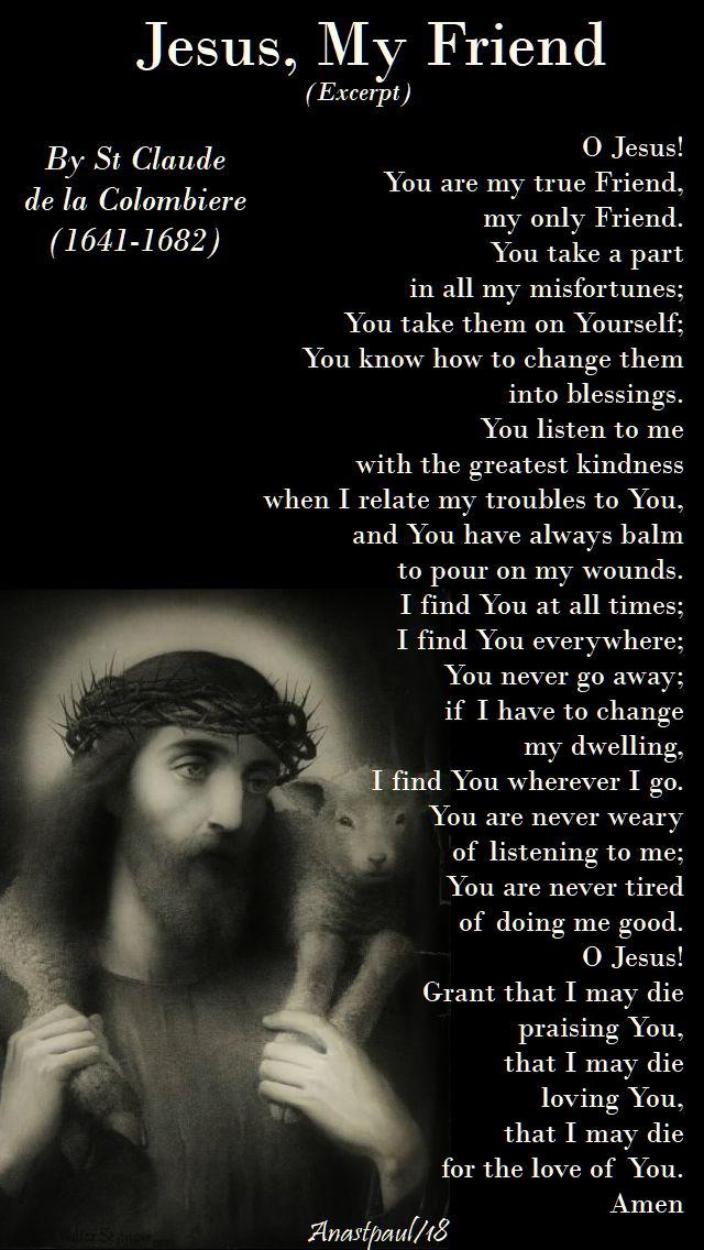 jesus my friend by st claude de la colombiere - 18 june 2018