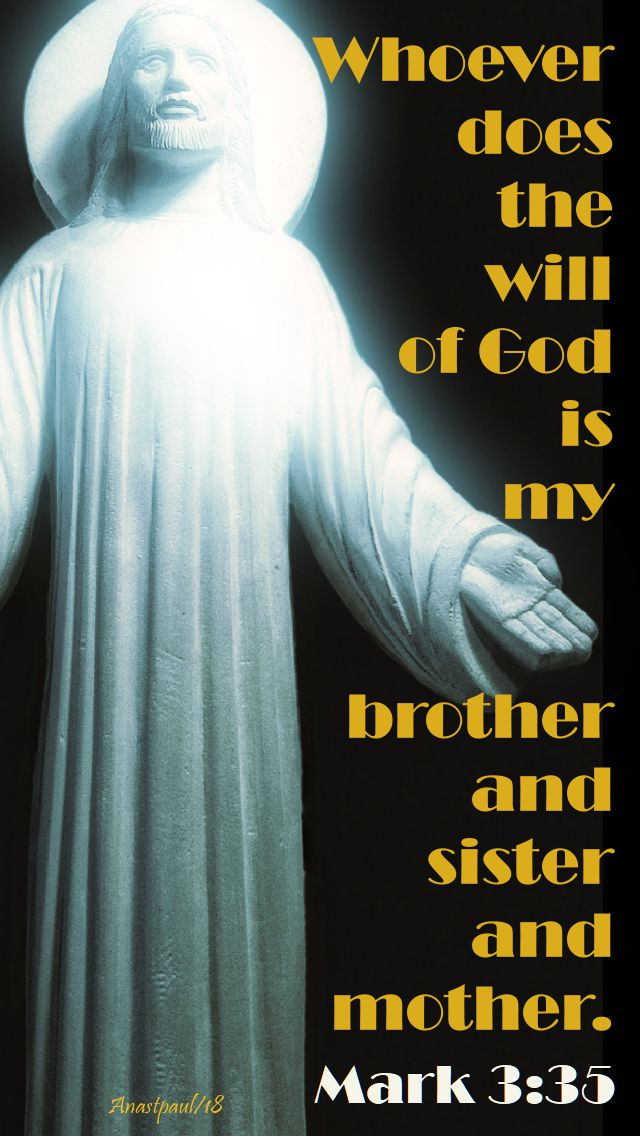 mark 3 35 - whoever does the will of god is my brother = 10 june 2018