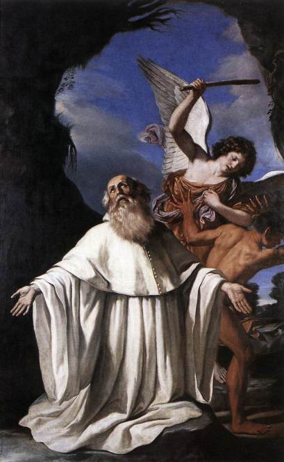 n San Romualdo, painted for the Church of San Romualdo, Ravenna, by Guercino, 1641, an angel uses the abbot's baton to chastise an errant figure (Pinatoceca Comunale, Ravenna).