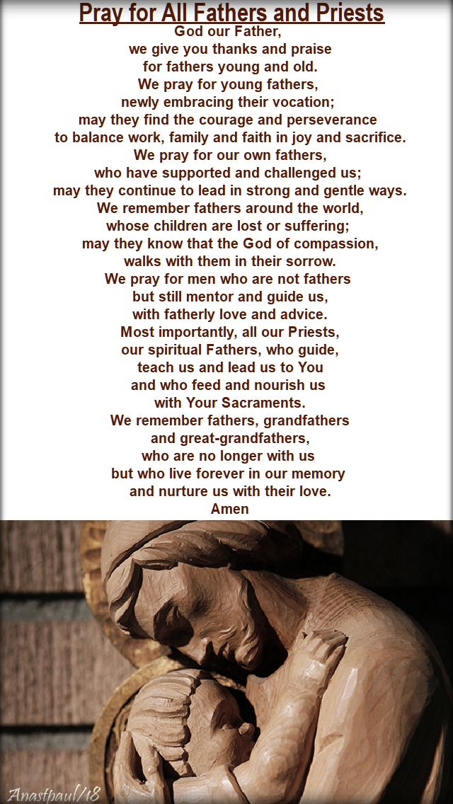 prayer for all fathers and priests - father's day - 17 june 2018