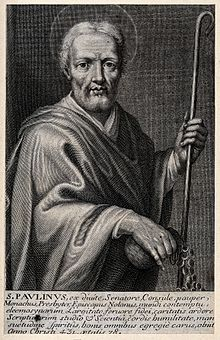 Saint_Paulinus_of_Nola._Line_engraving._Wellcome_V0032823