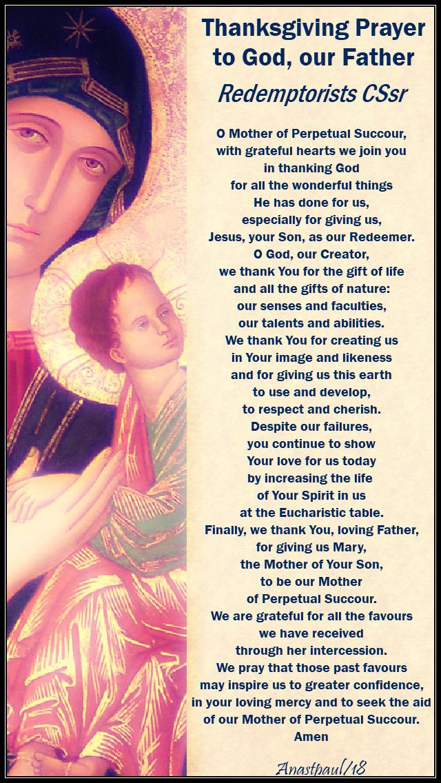 thanksgiving prayer to god our father for our mother of perpetual succour - redemptorists - 27 june 2018
