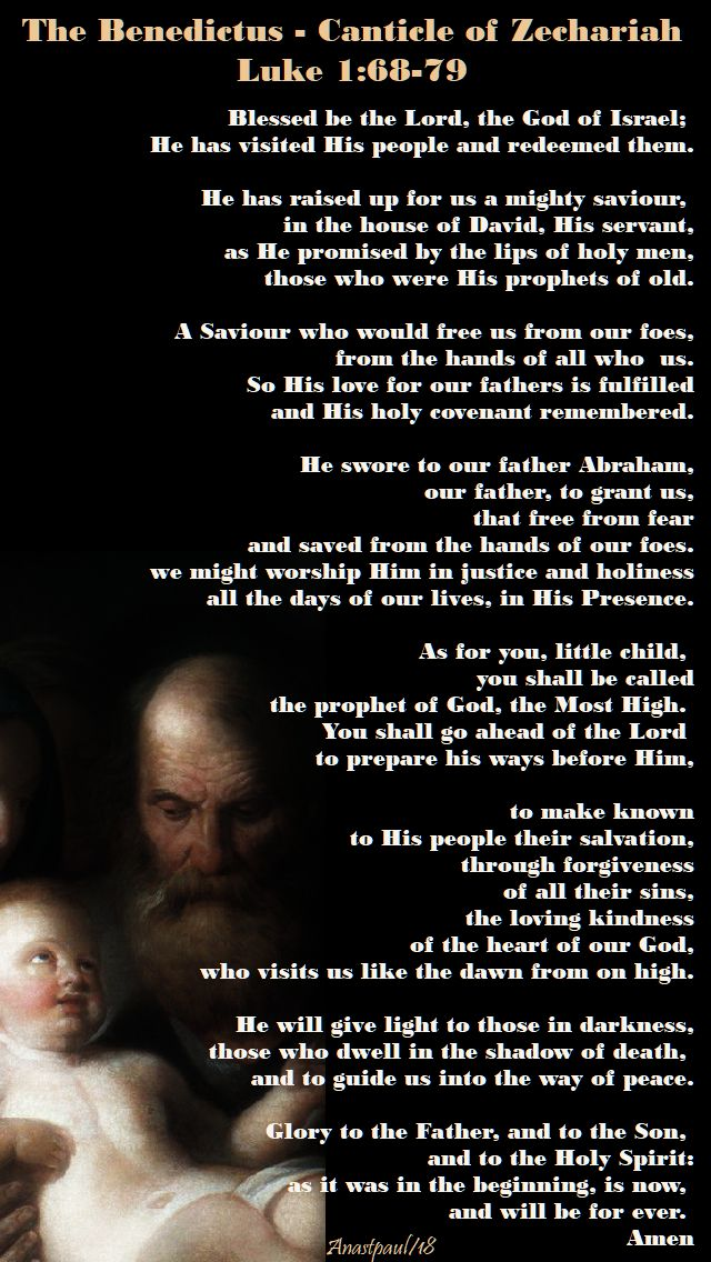 the benedictus - the birth of john the baptist - 24 june 2018 - from my lit of the hours