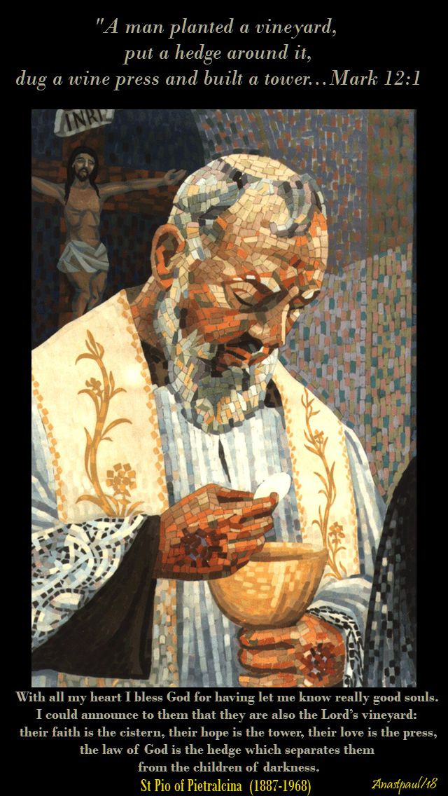 with all my heart i bless god - mark 12-1 - the vineyard - st padre pio - 4 june 2018