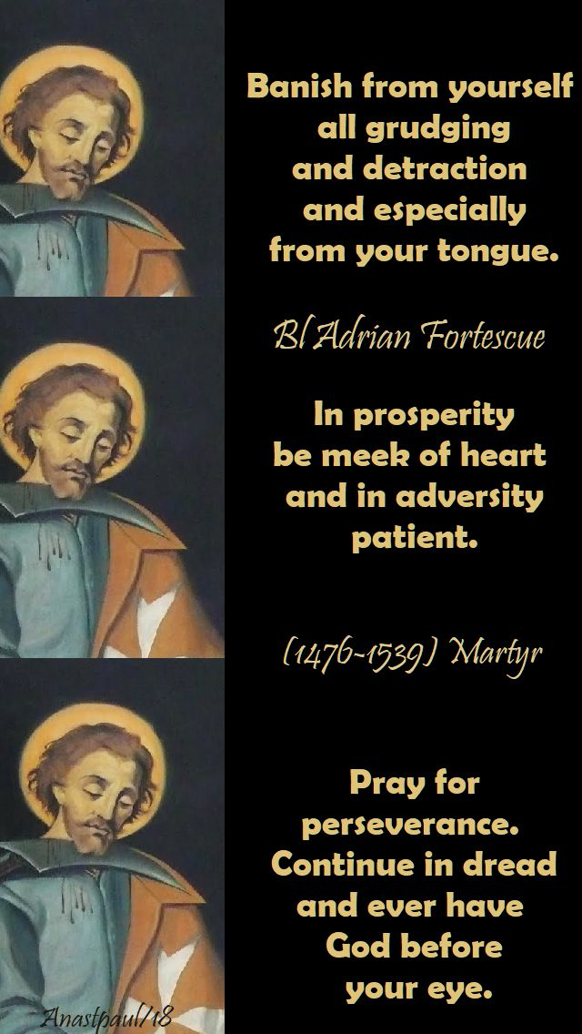 banish from yourself - in prosperity - pray for perseverance - bl adrian fortescue - 9 july 2018