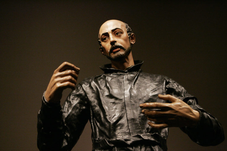 SCULPTURE OF ST. IGNATIUS PART OF EXHIBIT ON SPANISH SACRED ART AT NATIONAL GALLERY