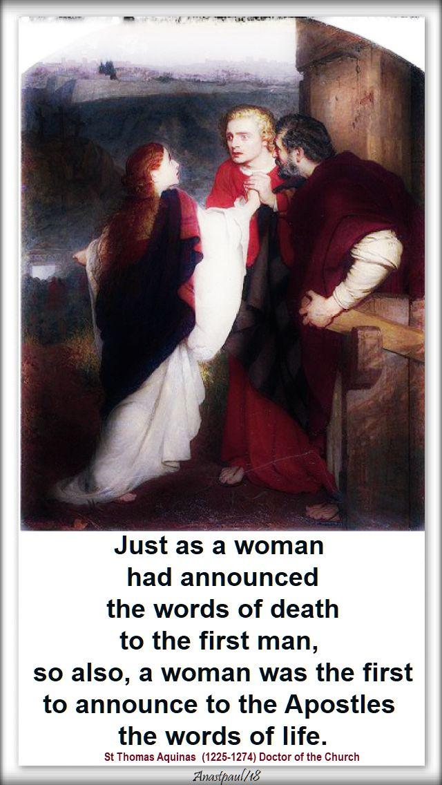 just as a woman had announced - st thomas aquinas - 22 july 2018