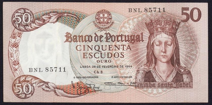 Portugal 50 Escudos banknote 1964 Queen Santa Isabel
