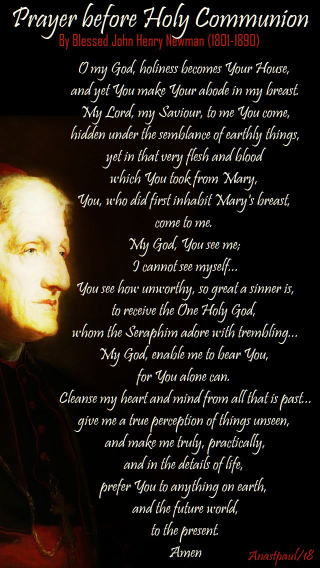 prayer before holy communion by john henry newman - 8 july 2018