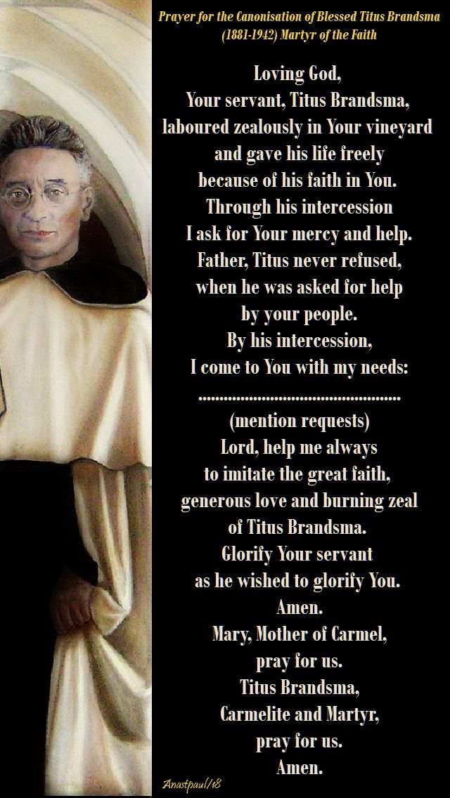 prayer for the canonisation of bl titus brandsma - 26 july 2018