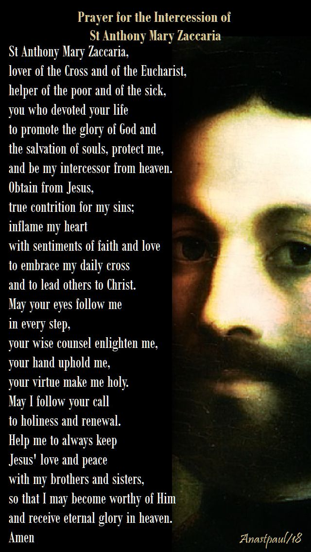 prayer for the intercession of st anthony mary zaccaria - 5 july 2018