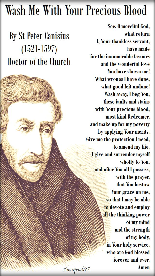 see o merciful lord - wash me with your precious blood - st peter canisius - 28 july 2018