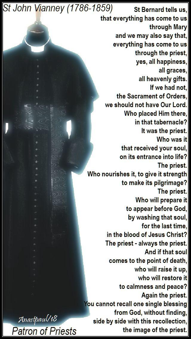 st bernard tells us that all things - st john vianney on the priesthood - 18 july 2018