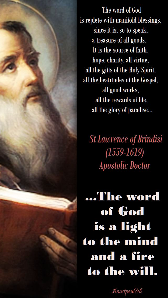 the word of god - 21 july 2018 - st lawrence of brindisi