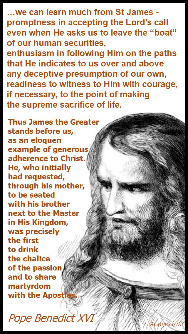 we can learn much from st james - pope benedict - 25 july 2018