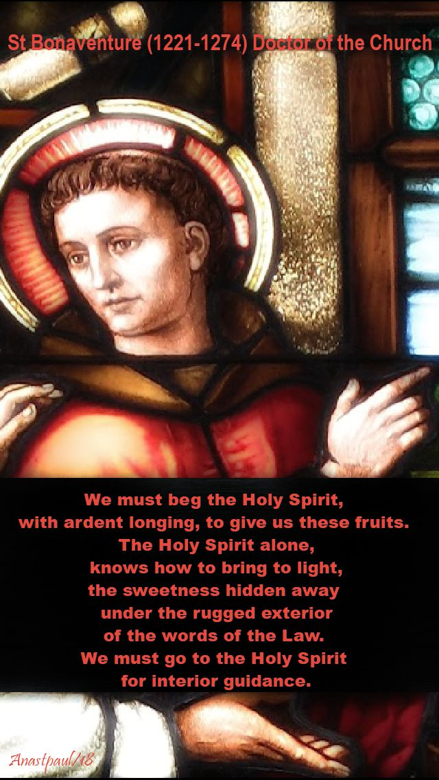 we must beg the holy spirit - st bonaventure - 15 july 2018