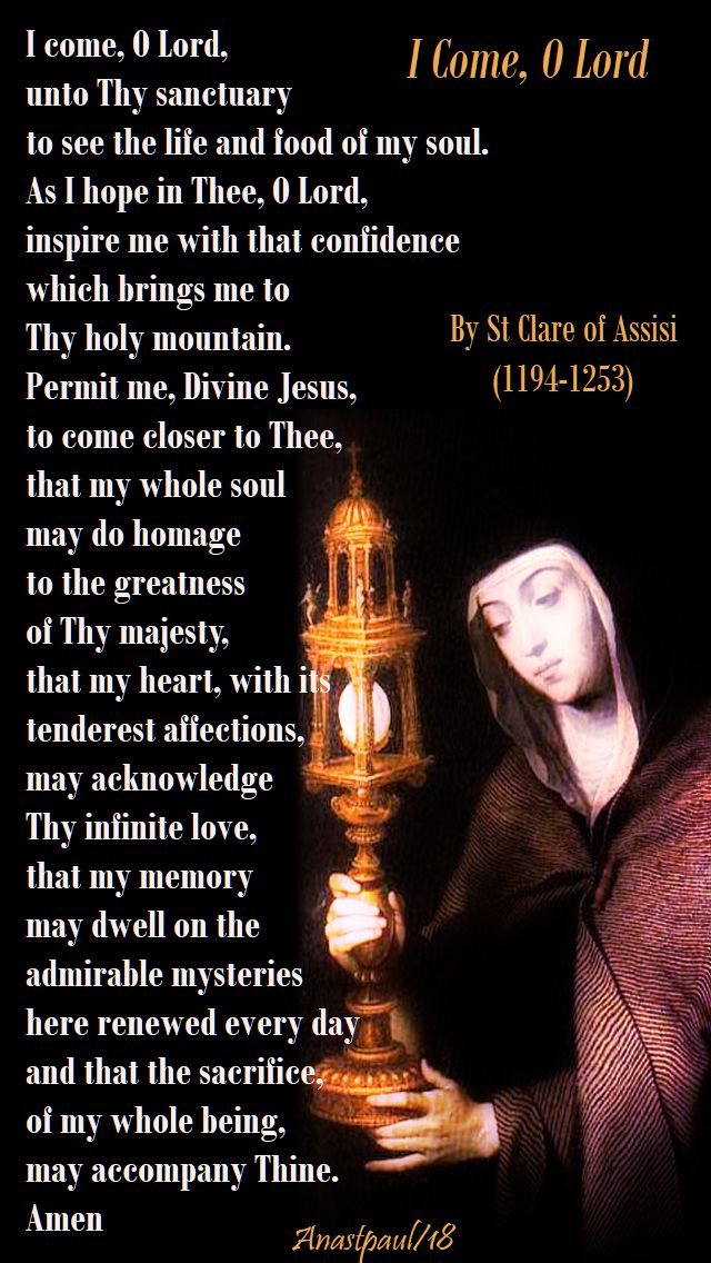 i come o lord into thy sanctuary - st clare - 11 aug 2018