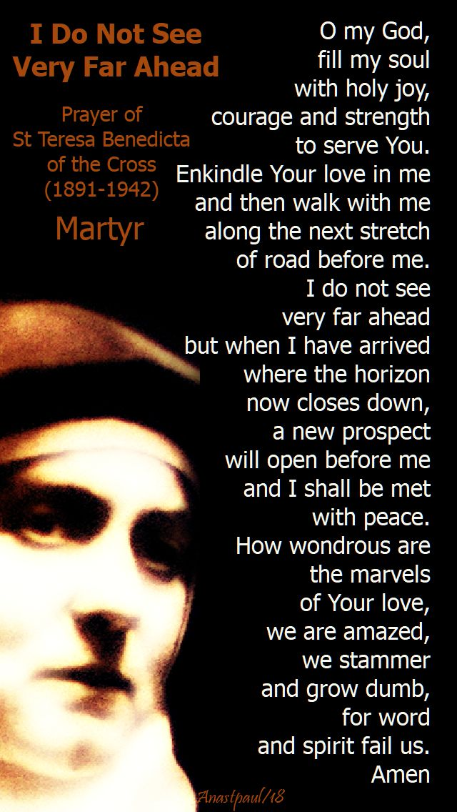 i do not see very far ahead - st teresa benedicta of the cross - 9 aug 2018