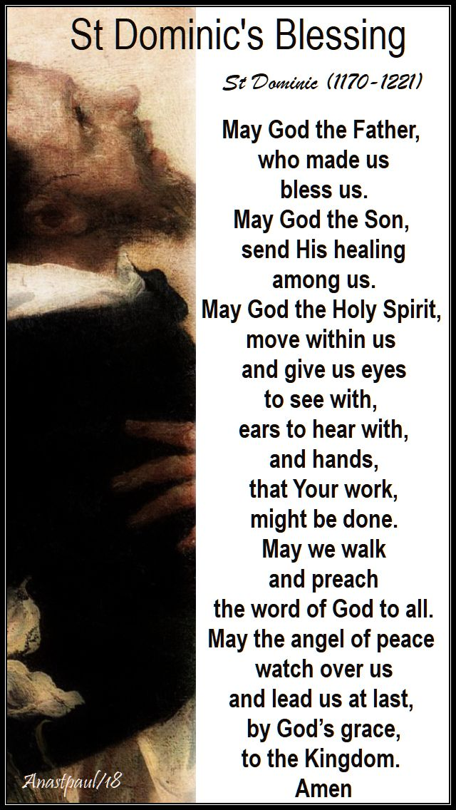 may god the father - st dominic's blessing - 8 aug 2018