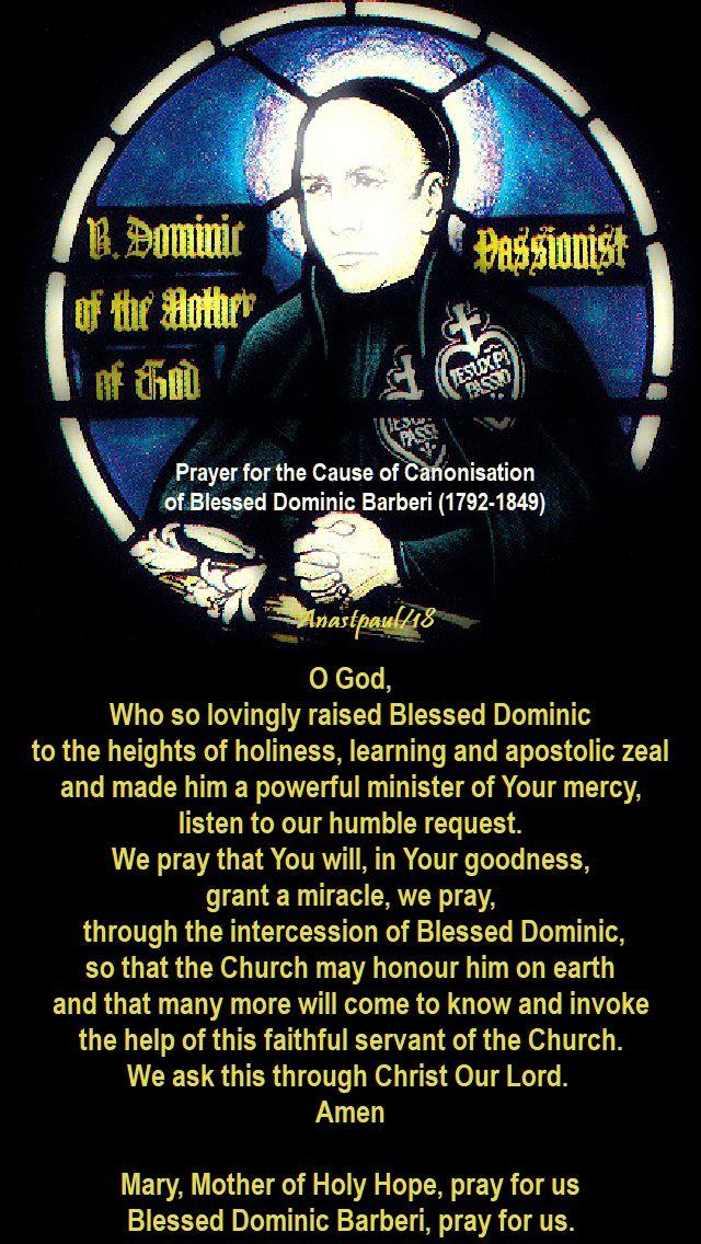 o god who so lovingly raised - prayer for the canonisation of bl dominic barberi - 27 aug 2018