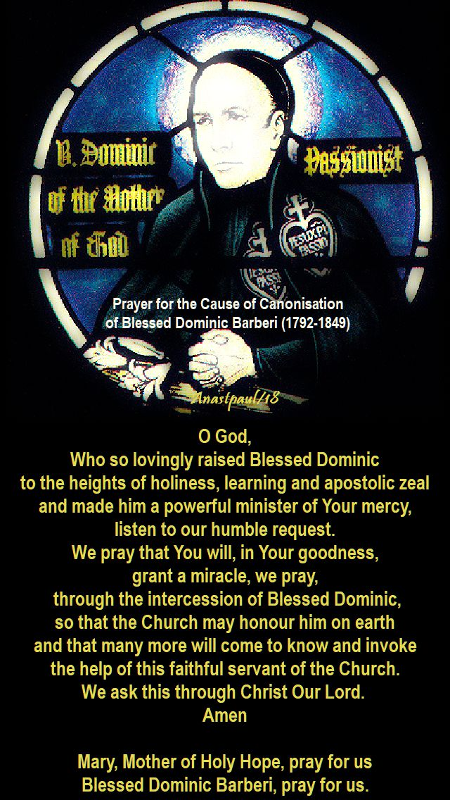 o god who so lovingly raised - prayer for the canonisation of bl dominic barberi - 27 aug 2018
