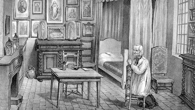 Saint Jean Baptiste Vianney (1786-1859) priest in Ars (France) during meditation, engraving