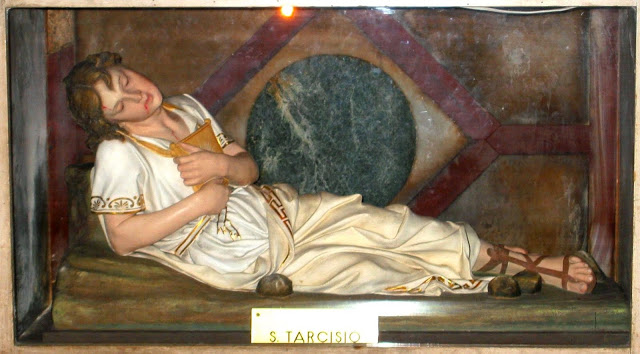 Tarsitius -figure in the altar of the church of S_ Lorenzo fuori le mura in Rome