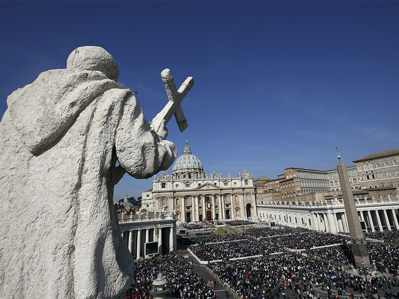 A general view is seen of Pope Francis leading the Easter mass in St. Peter's square at the Vatican
