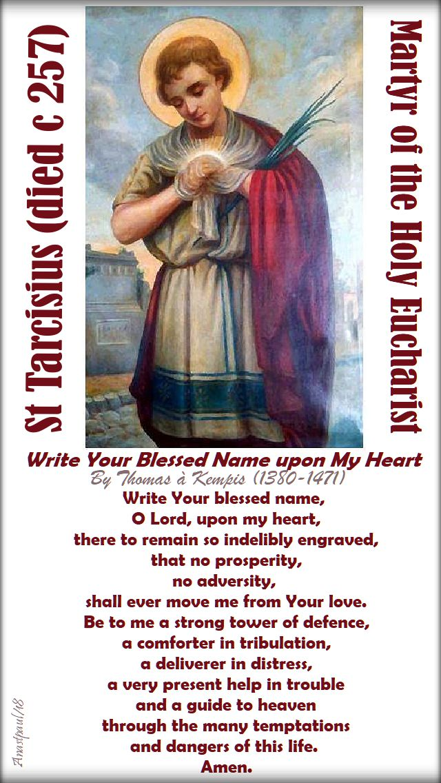 write your blessed name upon my heart - thomas a kempis - mem of st tarcisius 15 august 2018
