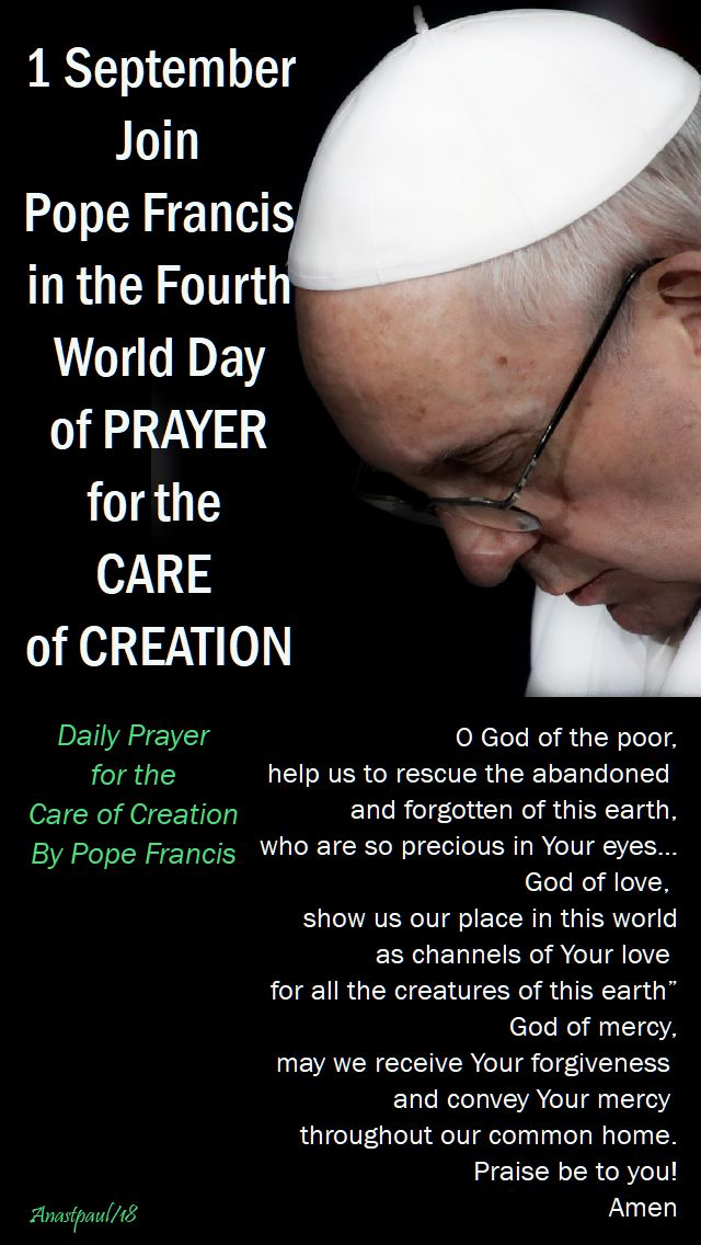 1 sept join pope francis - daily prayer for the care of creation - 1 sept 2018