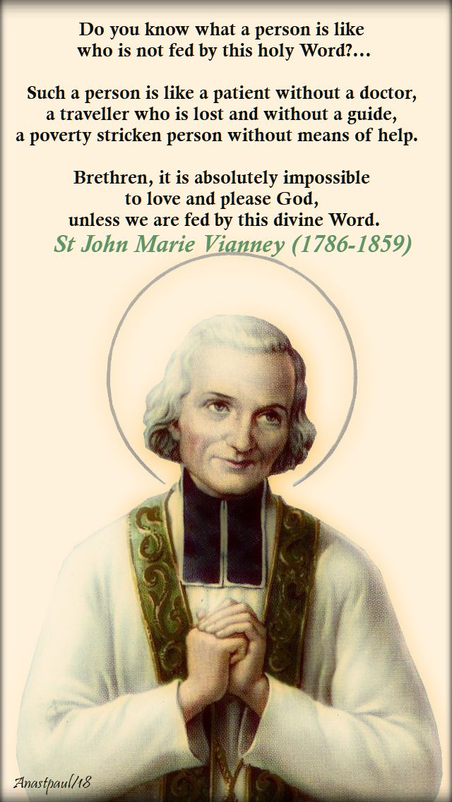 do you know what a person is like - st john vianney - 22 sept 2018
