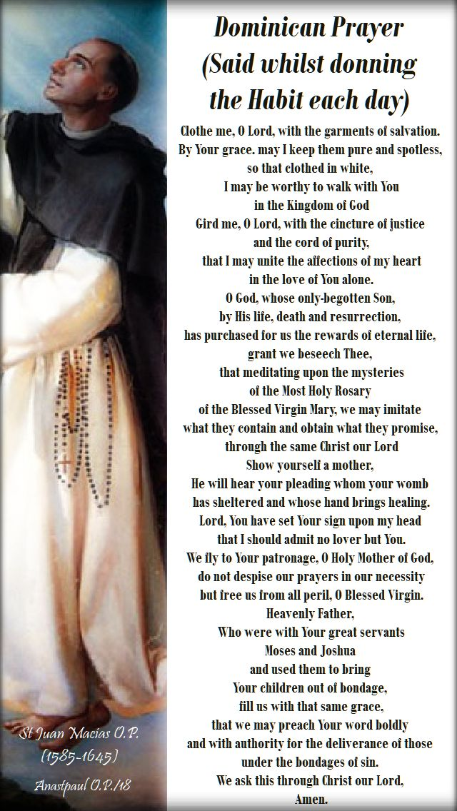 dominican prayer - clothing prayer no 2 with St Juan macias- 18 sept 2018