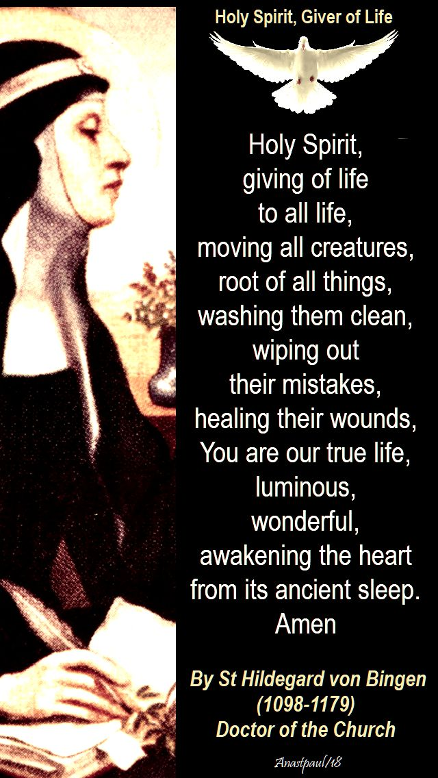 holy spirit giving of life to all life - st hildegard von bingen 17 sept 2018