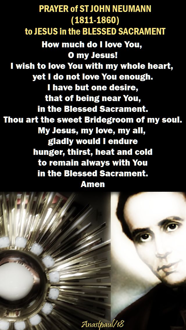 how much do I love You O my Jesus - st john neumann - prayer to jesus in the holy eucharist - 5 jan 2018- NO 2