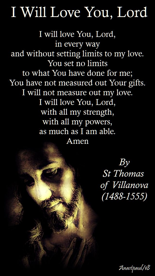i will love you Lord by St Thomas of Villanova - 22 sept 2018