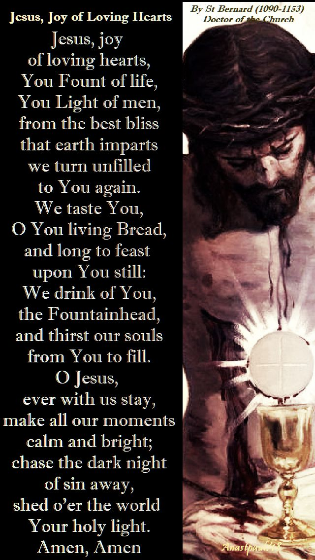 jesus joy of loving hearts - st bernard - eucharistic prayer - 16 sept 2018