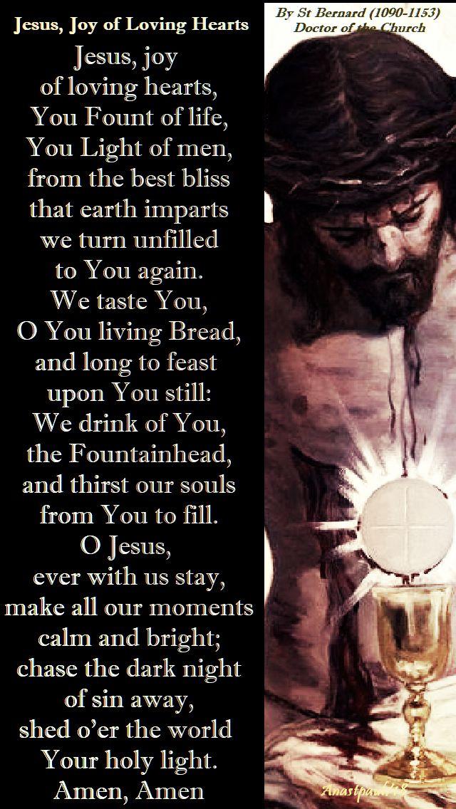 jesus joy of loving hearts - st bernard - eucharistic prayer - 16 sept 2018
