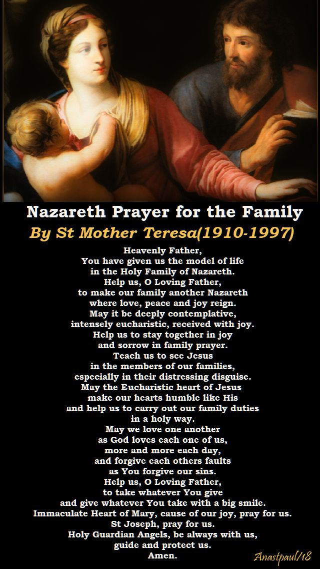 nazareth prayer for the family - st mother teresa - 5 sept 2018