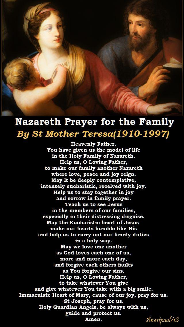 nazareth prayer for the family - st mother teresa - 5 sept 2018