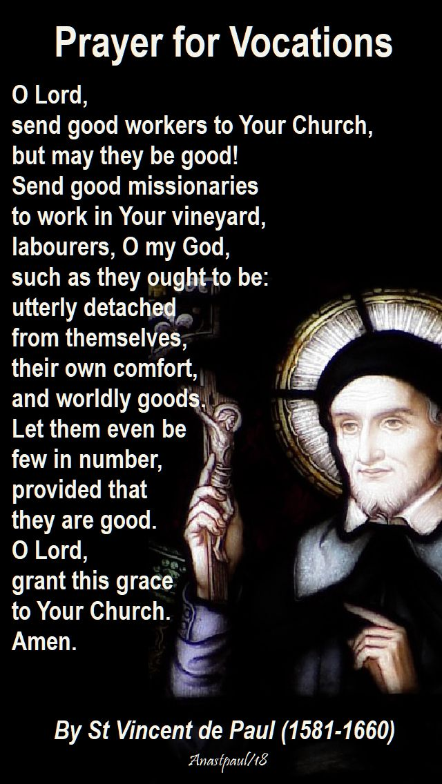 prayer for vocations by st v de p - 27 sept 2018