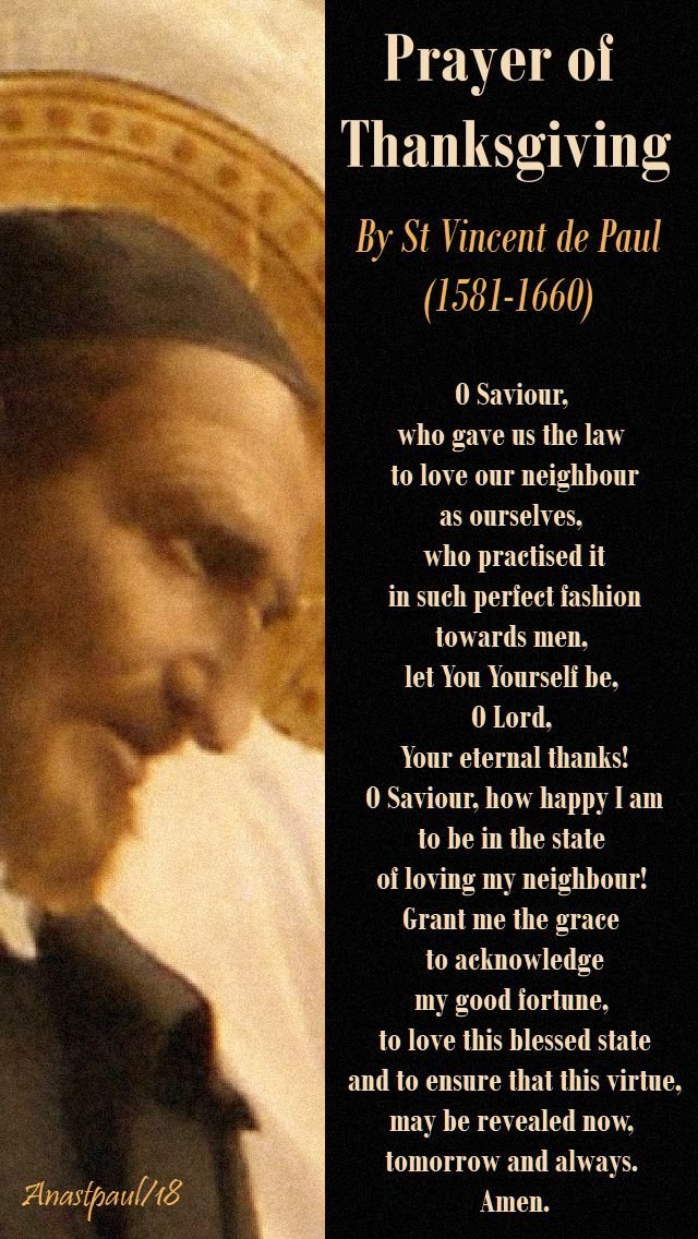 prayer of thanksgiving by st vincent de paul - 27 sept 2018
