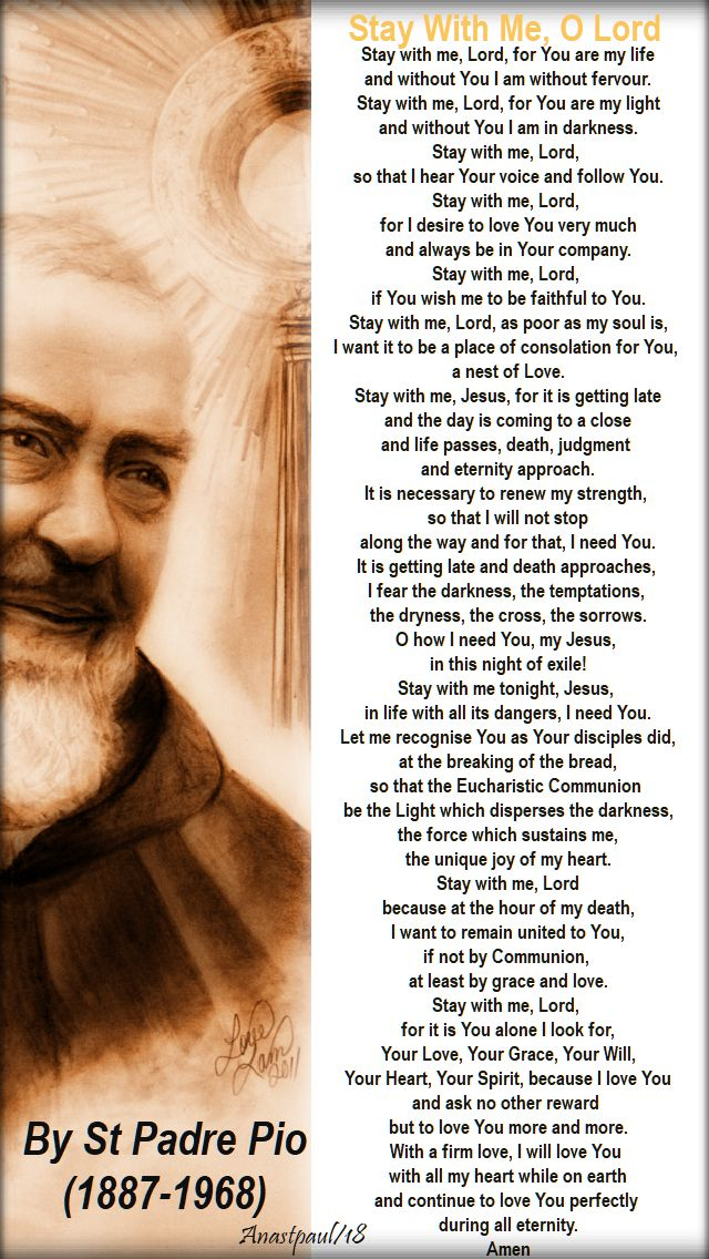 stay with me O Lord - st padre pio - 23 sept 2018