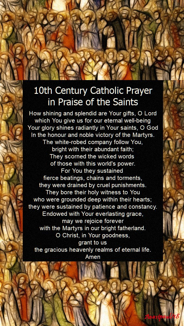10th century catholic prayer in praise of the saints - 1 november 2018 all saints day