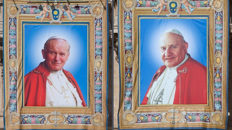 canonisation tapestries the 2 popes john paul and john