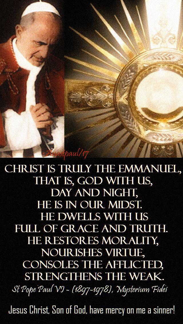 christ is truly emmanuel - bl pope paul VI - 14 oct 2018