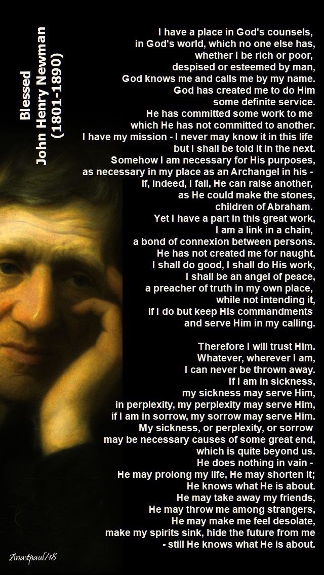 i have a place in god's counsels - bl john henry newman - 9 october 2018