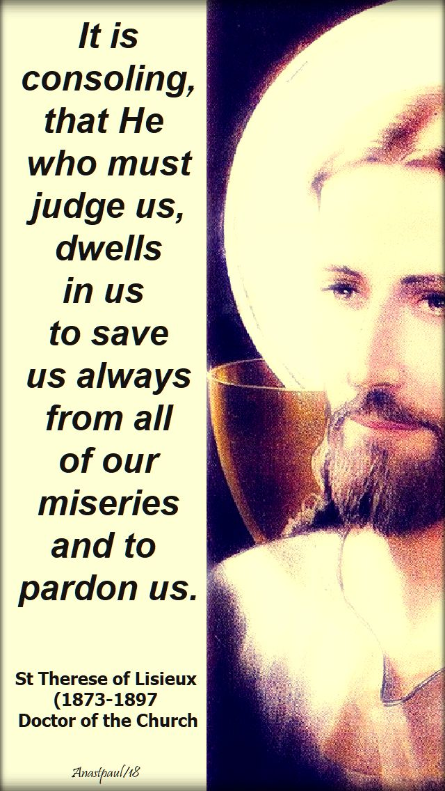 it is consoling that he who must judge us - st t of l - 1 oct 2018