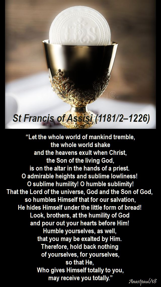 let the whole world of mankind tremble - st francis - 4 oct 2018